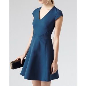Reiss Alsace V-Neck Blue Dress US size 10